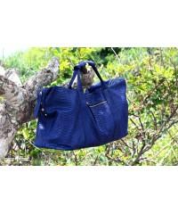 Дорожная сумка из кожи питона, синяя