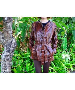 Женская куртка из натуральной кожи питона
