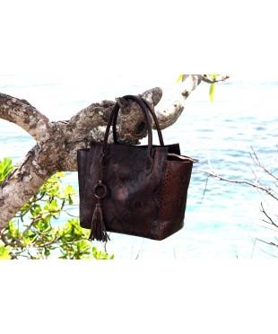 Большая сумка из кожи питона с ремешком