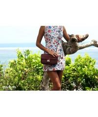 Сумочка в стиле Chanel из кожи питона, бордо