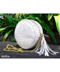 Круглая сумочка из кожи питона