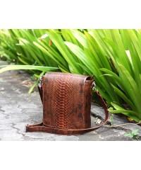 Мужская сумка из питона, коричневая